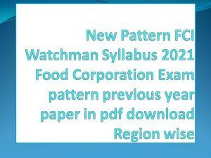 FCI Watchmen Syllabus